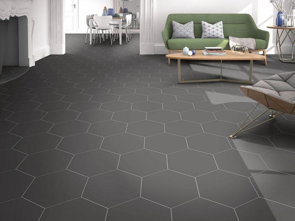 Opal Black Hexagon Porcelain Tile Black Floor Tiles Flooring Hexagon Tile Kitchen