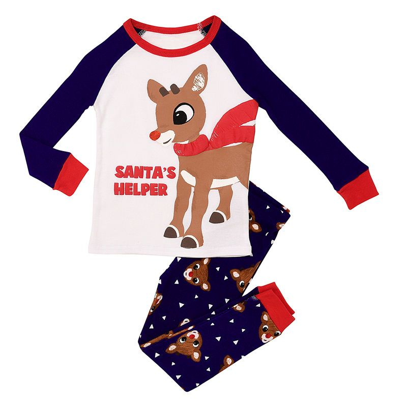 "Kids Boys Girls Red /""SANTAS LITTLE HELPER/"" Christmas Pyjamas Reindeer Rudolph"