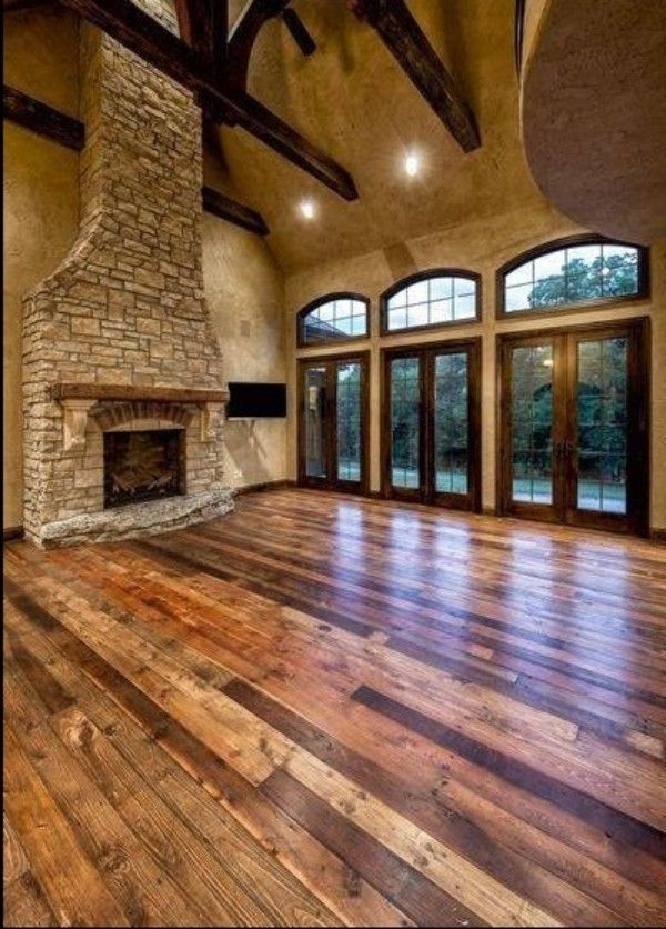 9 Uses for Reclaimed Wood in The Home - Reclaimed barn wood floor, rustic style family room, country decor. Visit for more reclaimed wood ideas for your ...