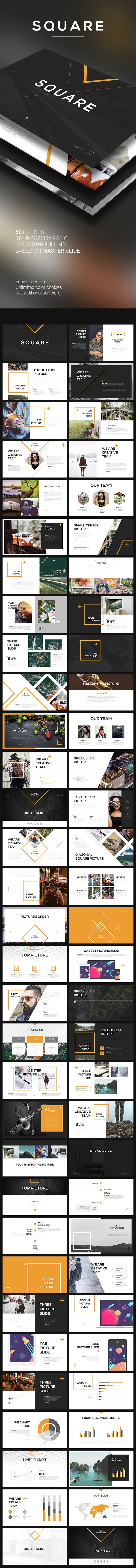 Square PowerPoint Template | Template, Squares and Presentation ...