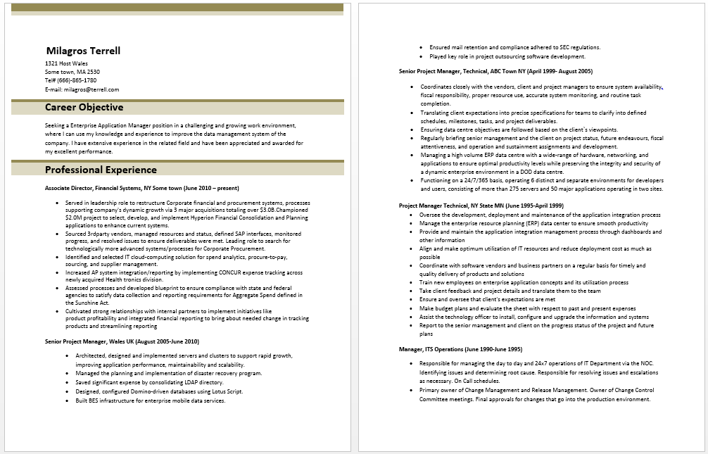 Enterprise Application Manager Resume  Manager Resume Samples