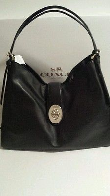 New Coach Madison Carlyle Black Leather Shoulder Handbag F32221 428 00