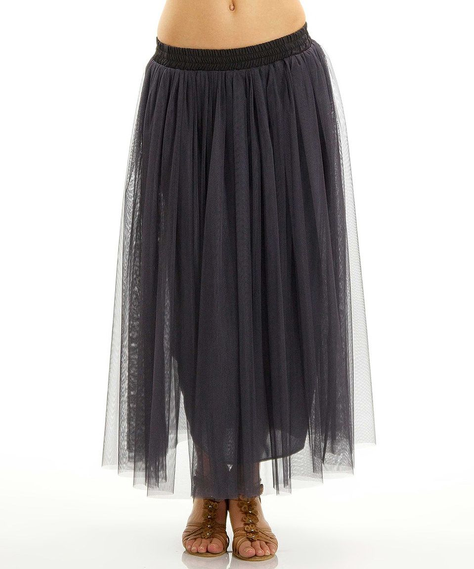 Charcoal Tulle Maxi Skirt by Lady Monkey #zulily #zulilyfinds