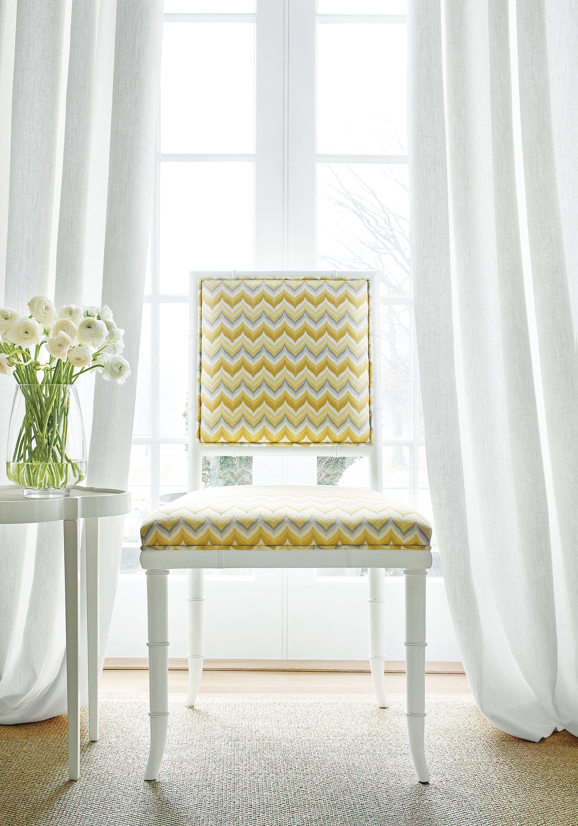 Delightful Dairen Chair From Thibaut Fine Furniture In Miura Woven Fabric In Lemon And  Smoke