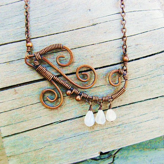 Wire Wrapped Moonstone Necklace - Moonstone teardrop dangles and ...