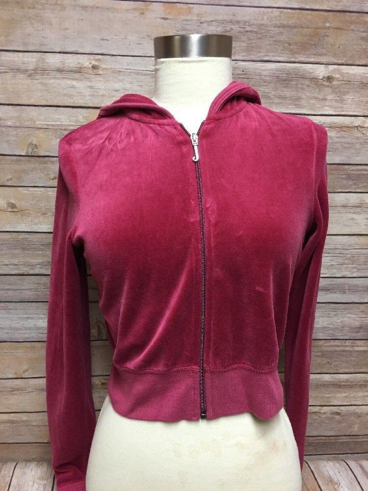 Juicy Couture Pink Velour Jacket Crop Hoodie Zip Up Sz M Long Sleeves Juicycouture Basicjacket Casual Velour Jackets Cropped Hoodie Juicy Couture Pink