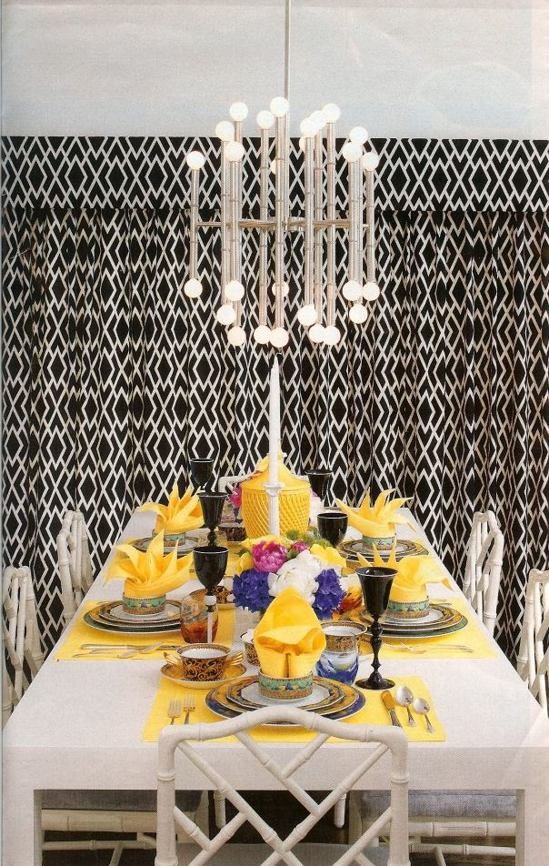 WERK Betch Vintage Chandelier Pattern Faux Bamboo Tablescape Retro Dining RoomsDining