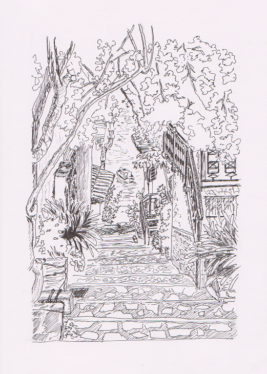 Urban drawing: Alley to the sea.