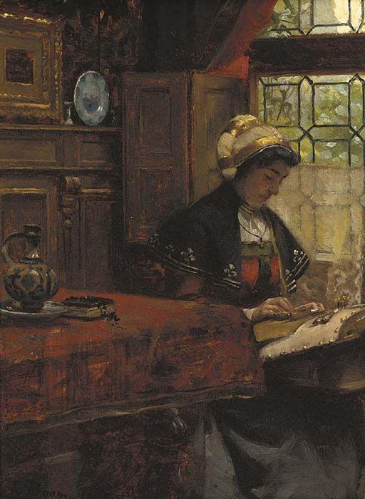 Dentellière. Huile sur panneau 1903 de Charles (Karel) BOOM ( belge 1858-1939)