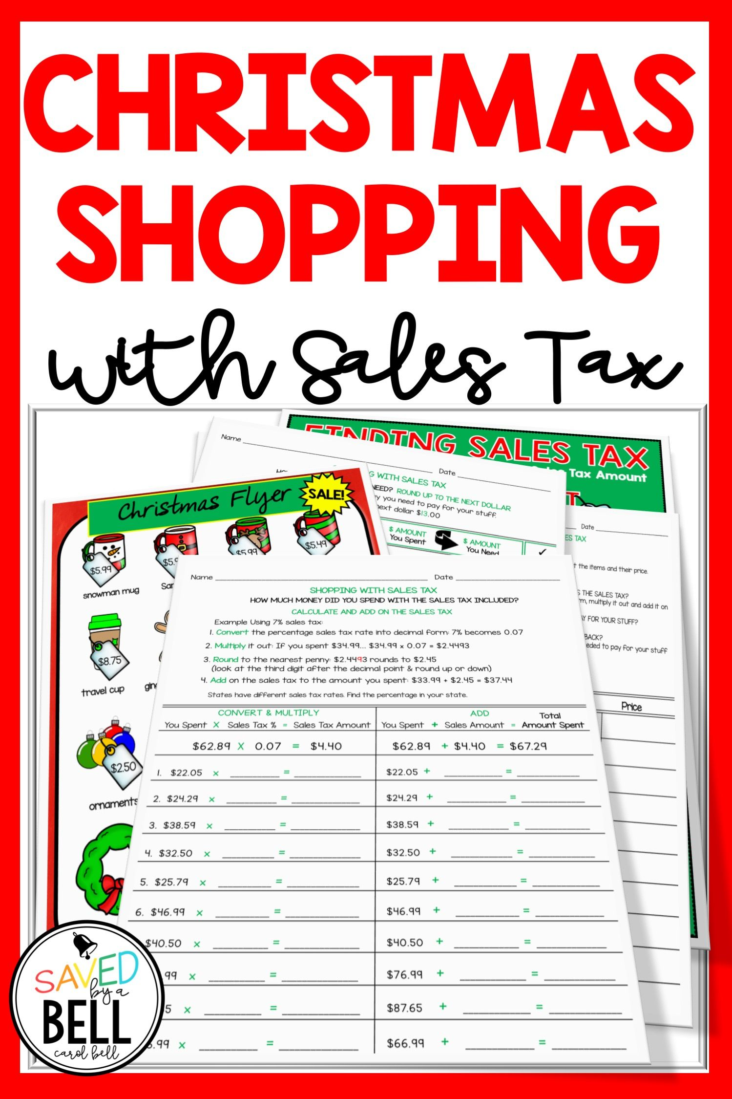 Christmas Sales Tax Worksheets Holiday Math Worksheets Money Math Worksheets Holiday Math [ 2249 x 1499 Pixel ]