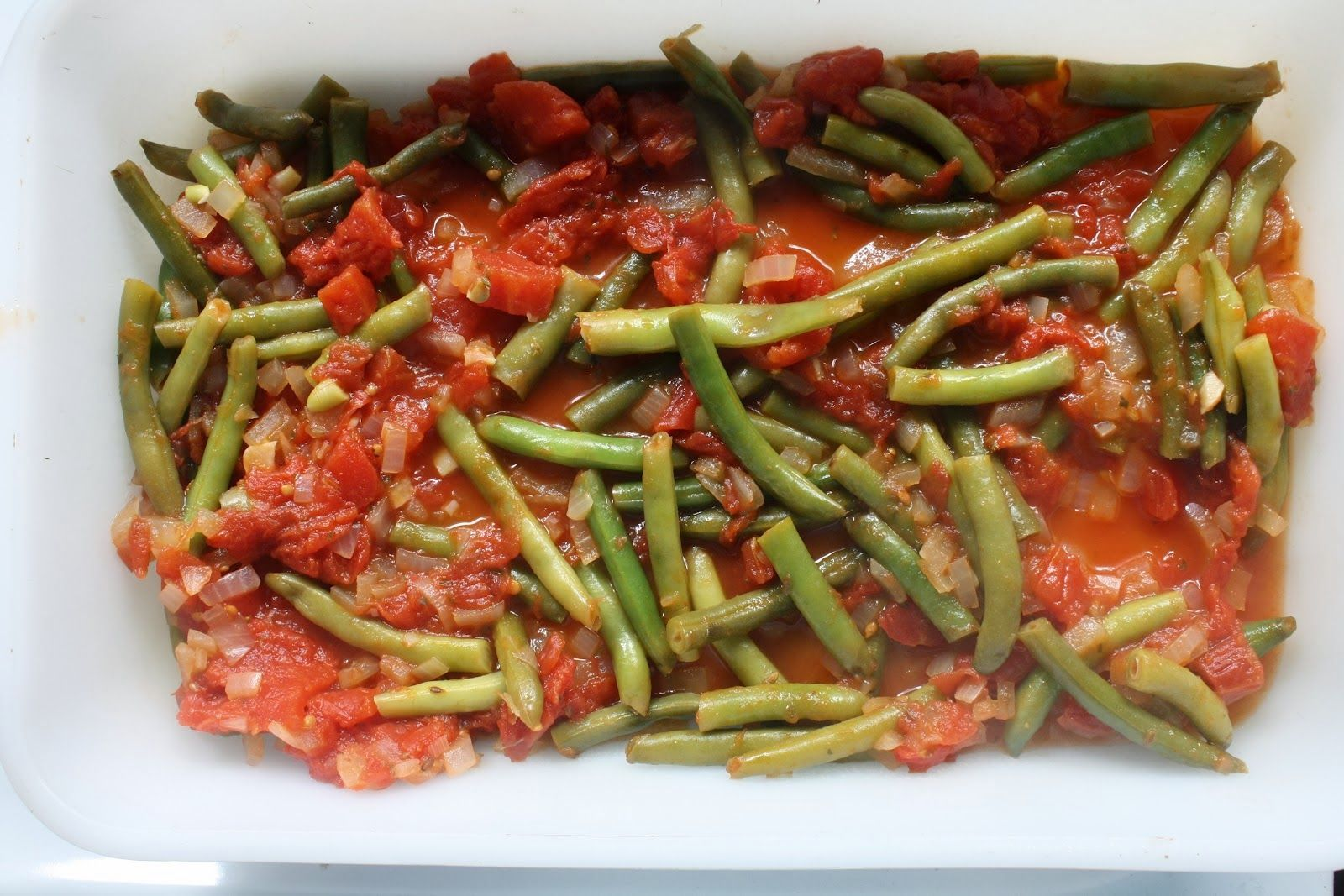 Green beans, Greek traditional recipy ~ Φασολάκια λαδερά