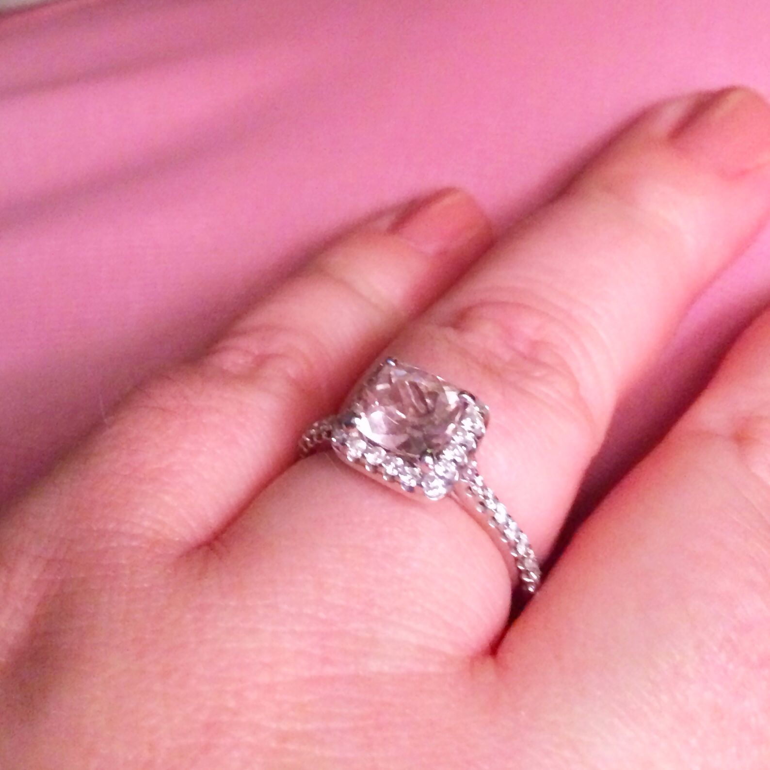 My engagement ring! A pale pink cushion cut Morganite in a white ...