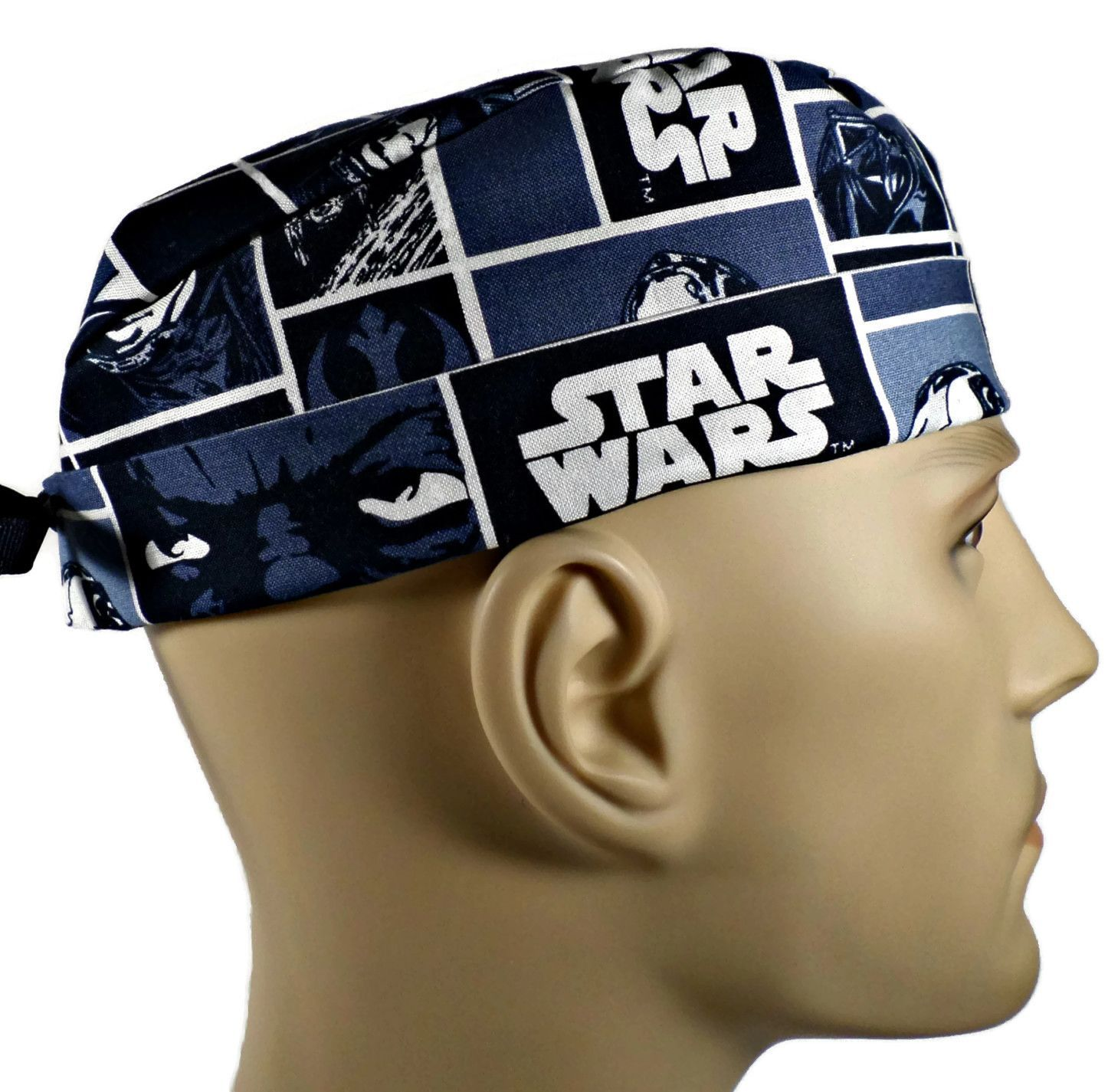 8ea7da91dce Men's Lined Surgical Scrub Cap Hat in Star Wars Squares in 2 styles by Crazy  Caps