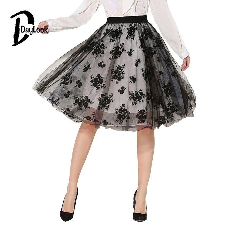 Daylook 2016 Brand New Summer Bordado de Tul Faldas Mujer de Cintura Alta de  La Rodilla-Longitud de la Pretina de La Falda Del Tutú Faldas Saias ... 090145ee880f