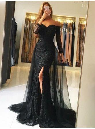 usd23700  fashion abendkleid mit Ärmel  schwarze abendkleider lang spitze  www