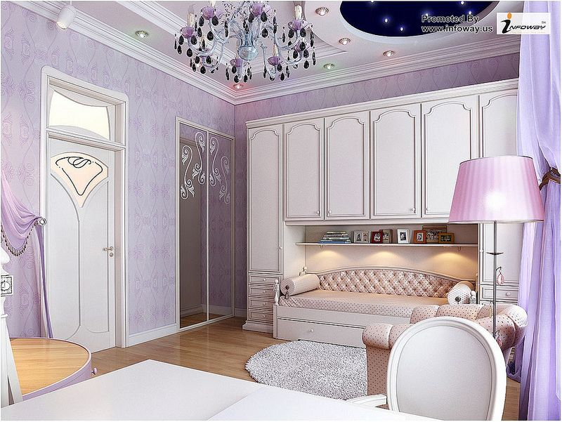 white cabinet and beautiful purple room interior design Purple