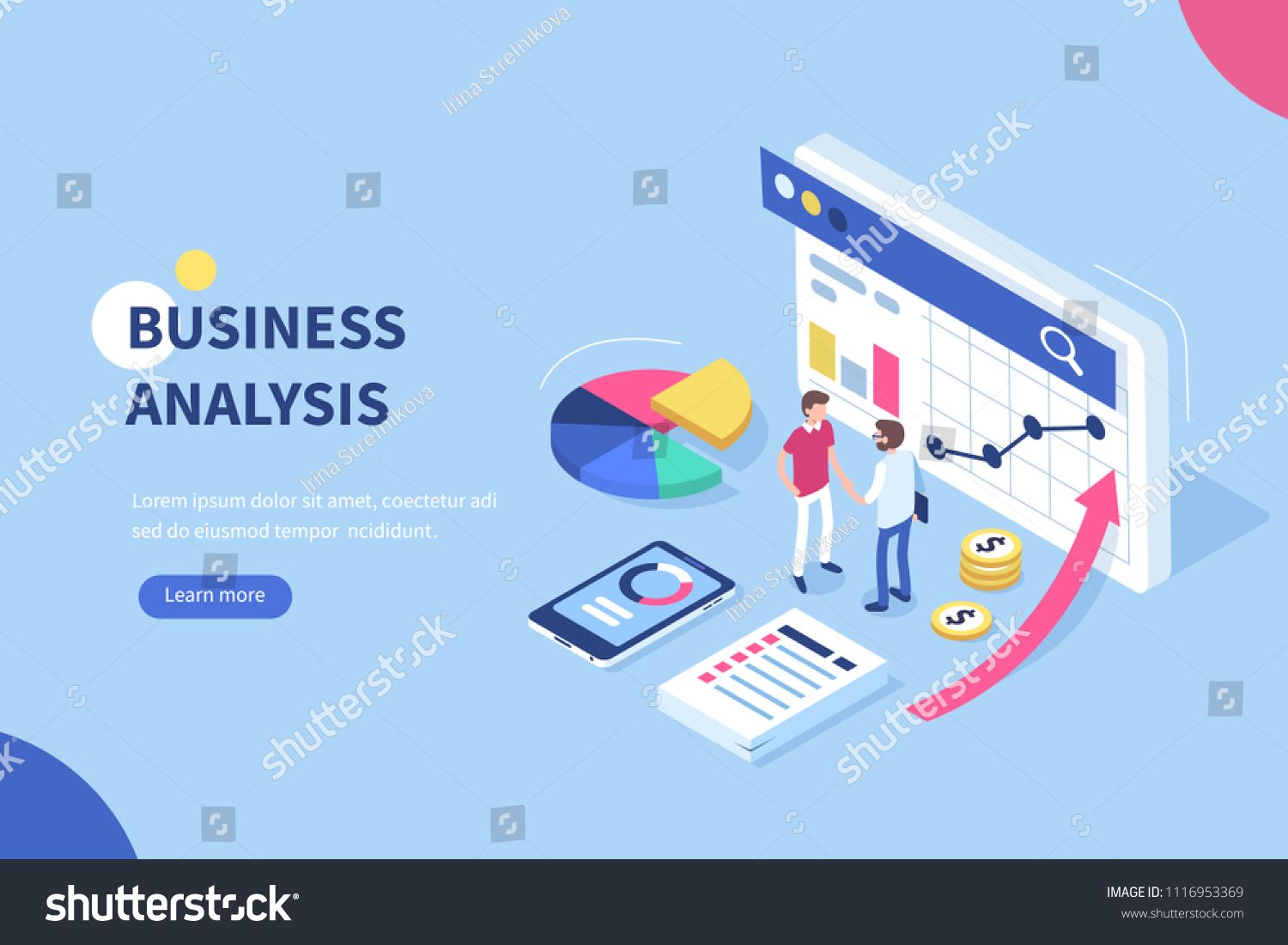 Business analysis concept banner with characters. Can use ...
