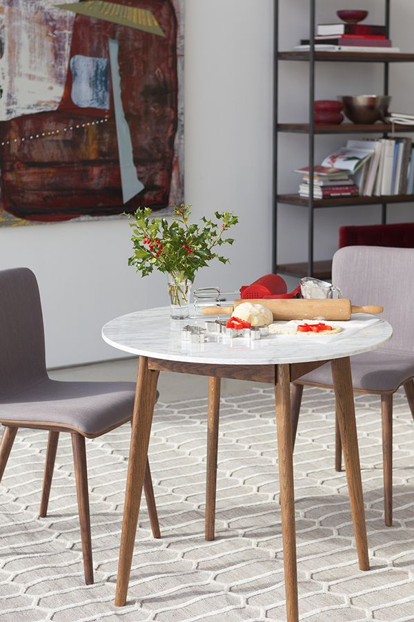 Round Marble Dining Table Walnut Wood Article Mara Modern - Round marble cafe table