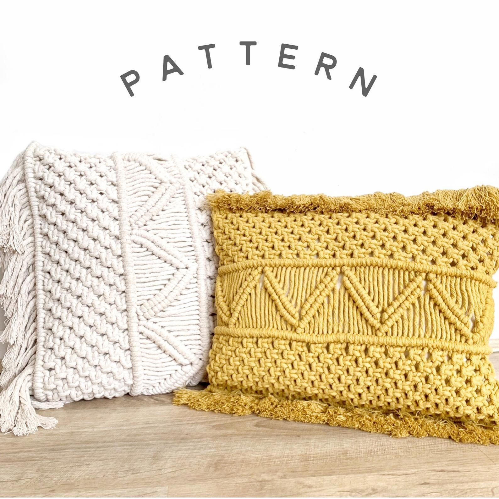 Macrame Pattern Tutorial For Pillow Cover Cushion Case Diy Etsy In 2020 Macrame Patterns Tutorials Cushion Cover Pattern Macrame Patterns