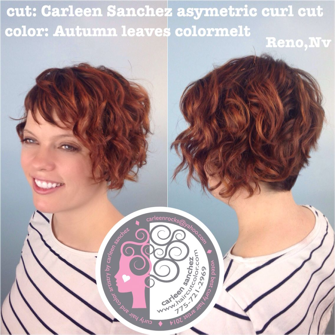 Asymetric naturally curly sexy short cut and colormelt by carleen