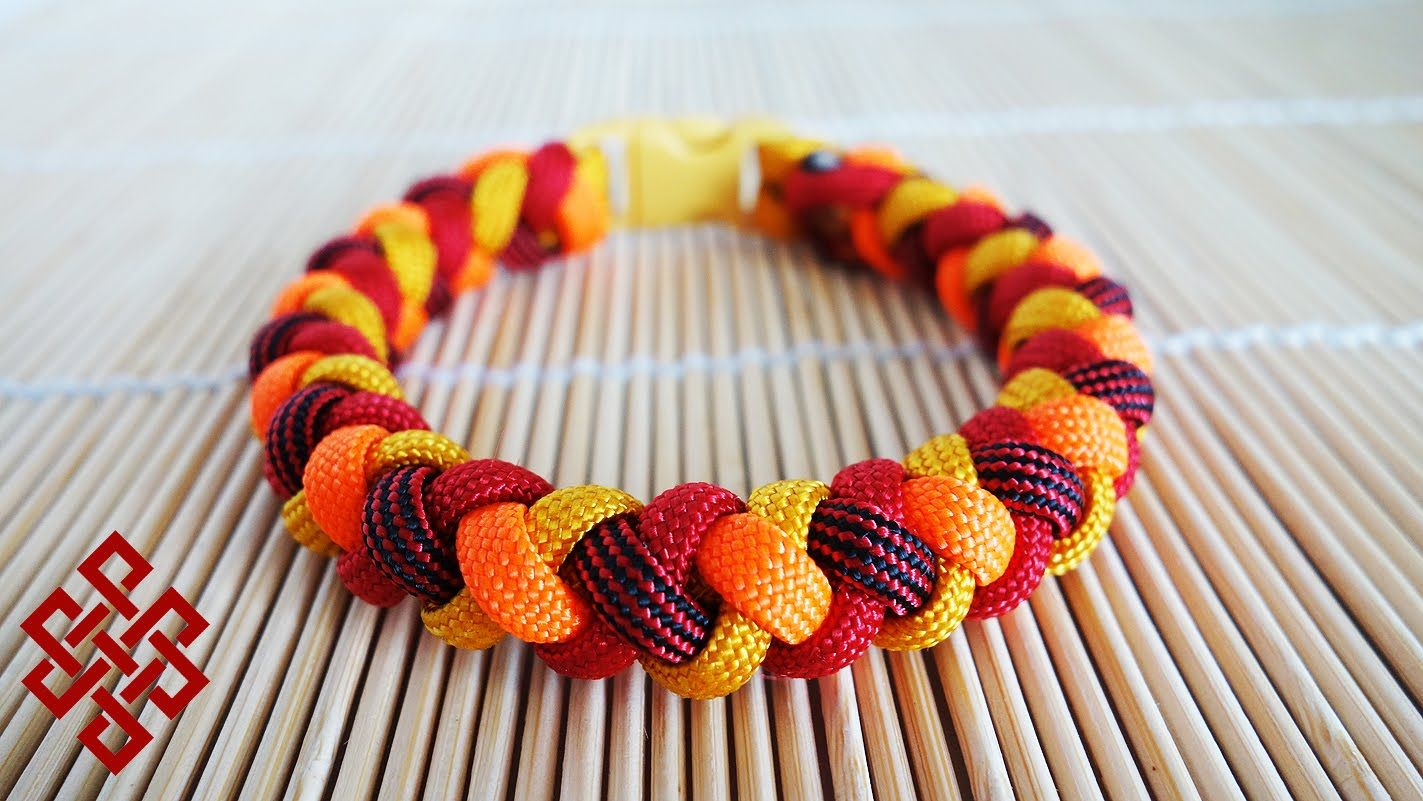 How To Make A 4 Strand Round Braid Paracord Bracelet With Buckles
