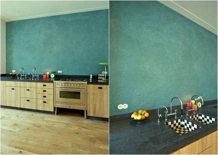 Wandgestaltung Mit Grunblauer Wandfarbe Und Wischtechnik Interieur