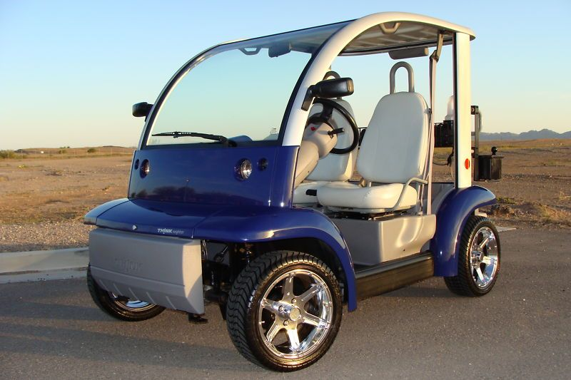 IMMACULATE 2002 FORD THINK NEV GOLF CART, 799 ORIG MILE