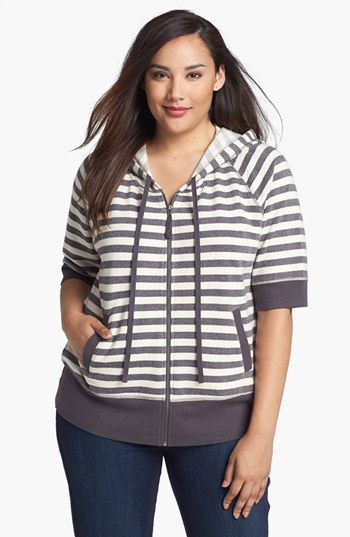 Sejour Stripe French Terry Hoodie (Plus) available at #Nordstrom