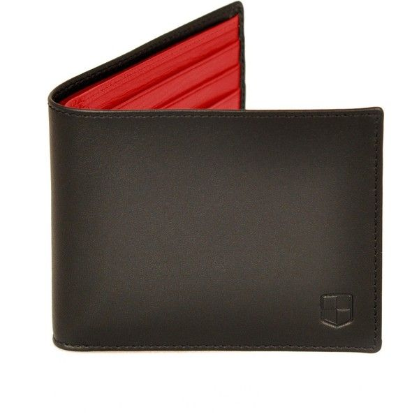 HUCKLE & HARPER - Black & Red Lambskin Billfold Wallet (718.900 COP) ❤ liked on Polyvore featuring men's fashion, men's bags, men's wallets, men's accessories, mens billfolds, mens wallets and mens red wallet