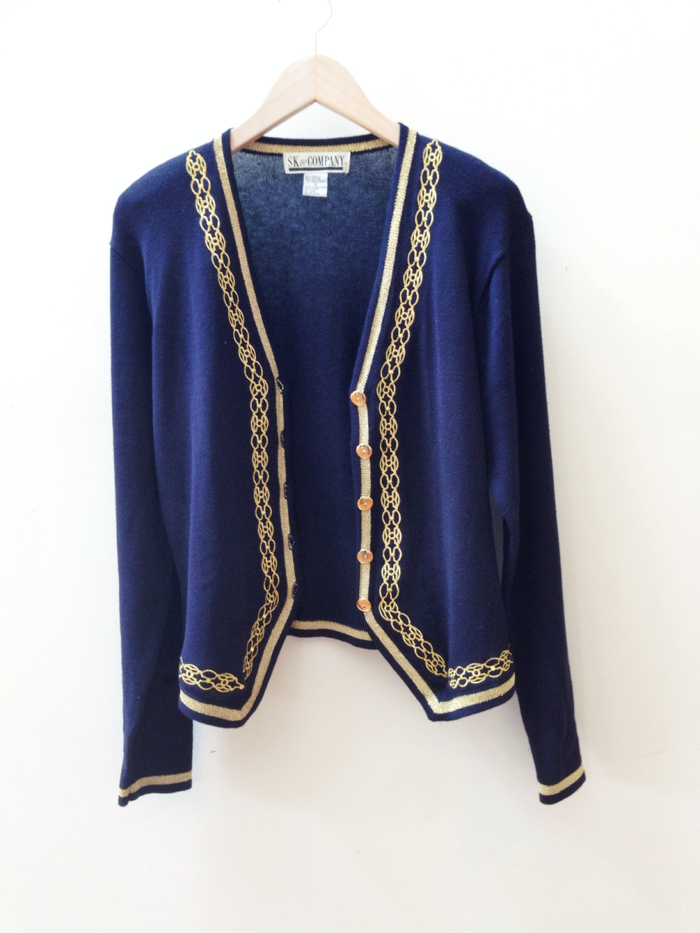 Gold embroidered navy blue sweater unbuttoned | Awesome Finds ...