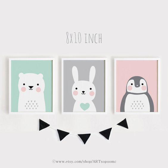 Druckbare KindergartenKunstSet von 3 Poster Kinderzimmer