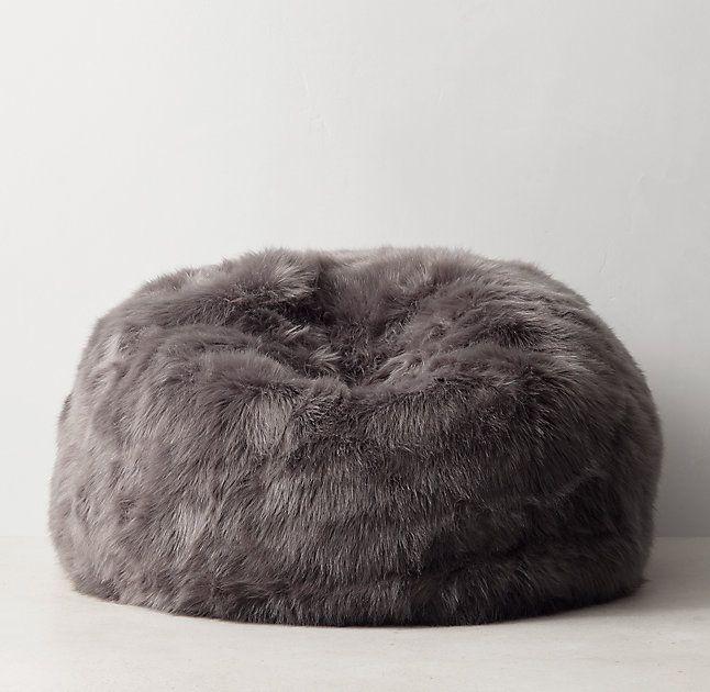 Fabulous Kashmir Faux Fur Bean Bag Dark Grey A E New Biz In Evergreenethics Interior Chair Design Evergreenethicsorg