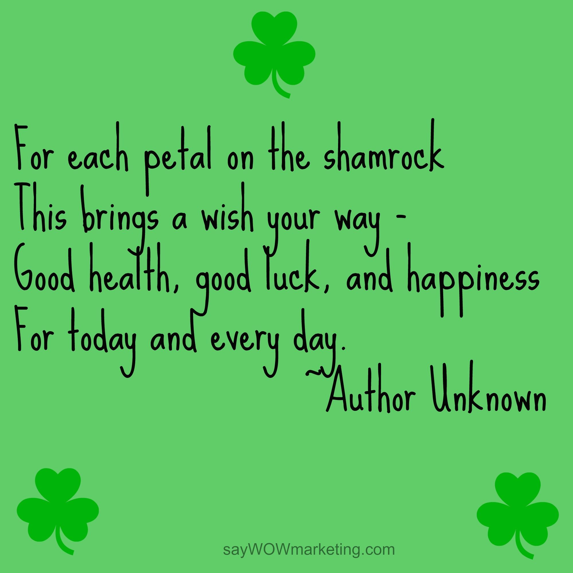 Good Health Quotes Happy Stpatrick's Day For Each Petal On The Shamrock This