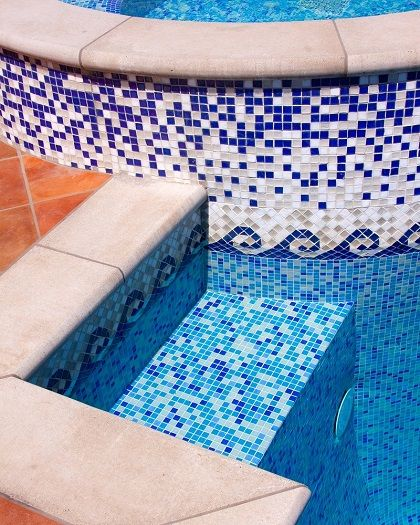 Glass Tile Swimming Pool Designs | Pool designs, Swimming pools and ...
