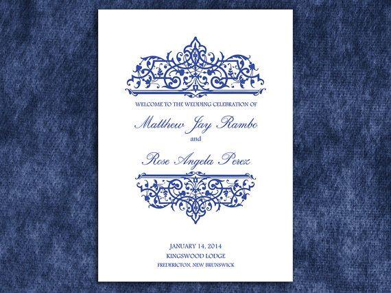 Printable Navy Blue Cella Half Fold Wedding Program Template