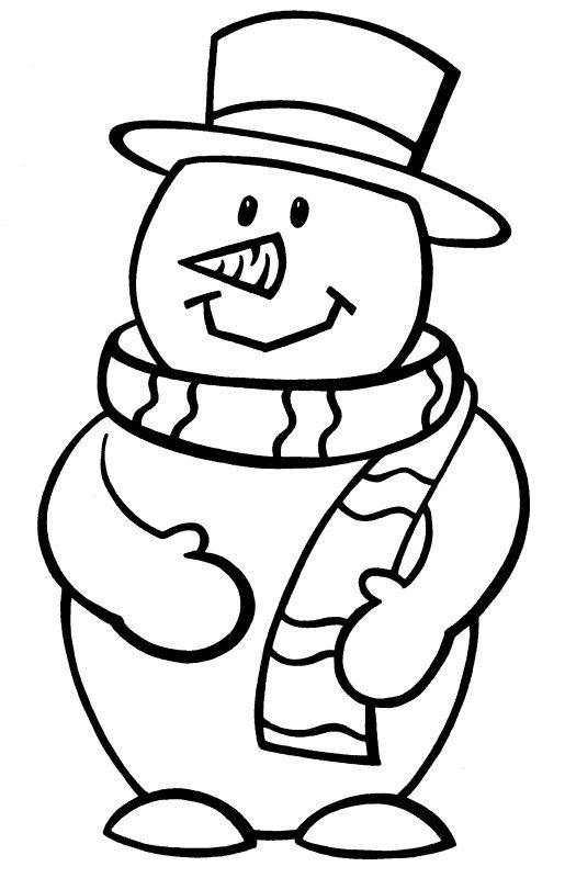 картинка контур снеговик она