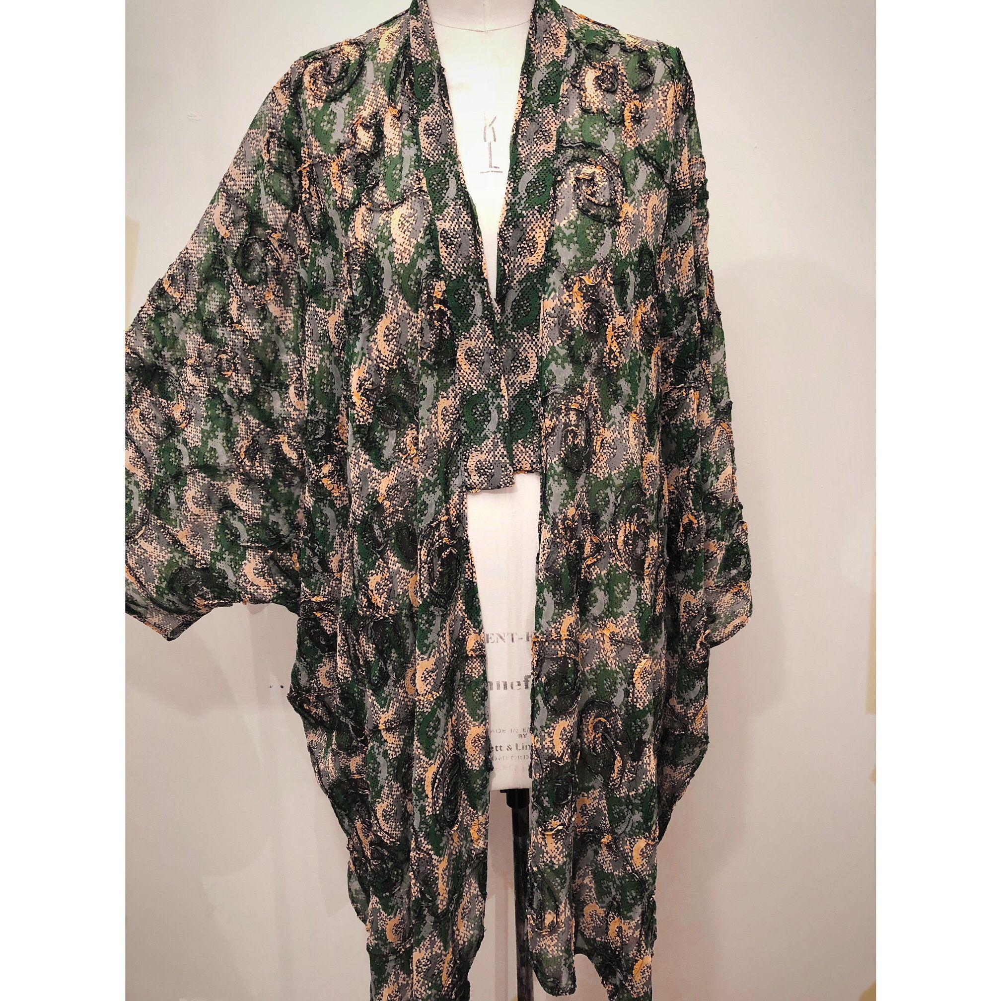 Gorgeous green print soft jacket plus size kimono for women