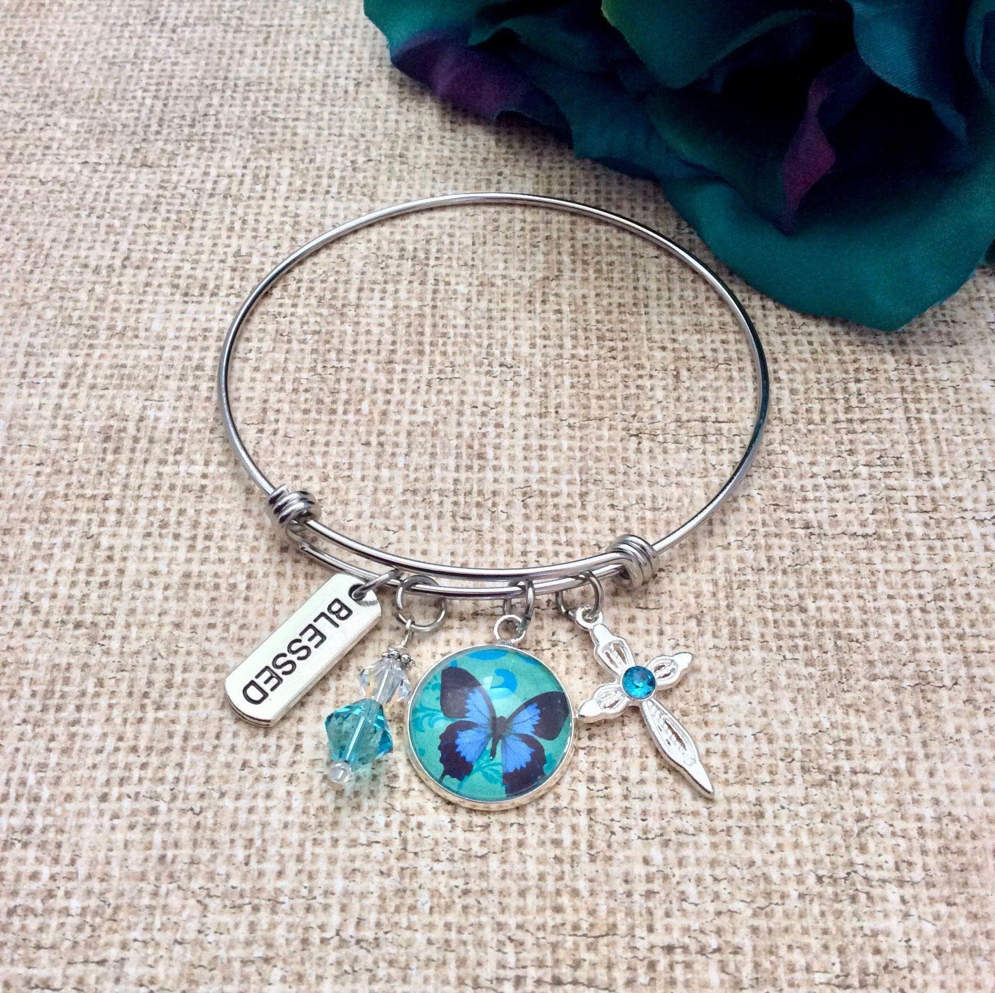 Blue Butterfly Bangle Bracelet, Swarovski Crystal Bracelet, Christian Bracelet,  Charm Bracelet, Faith Jewelry, Inspirational Bracelet by BeautifullyInspiredJ on Etsy