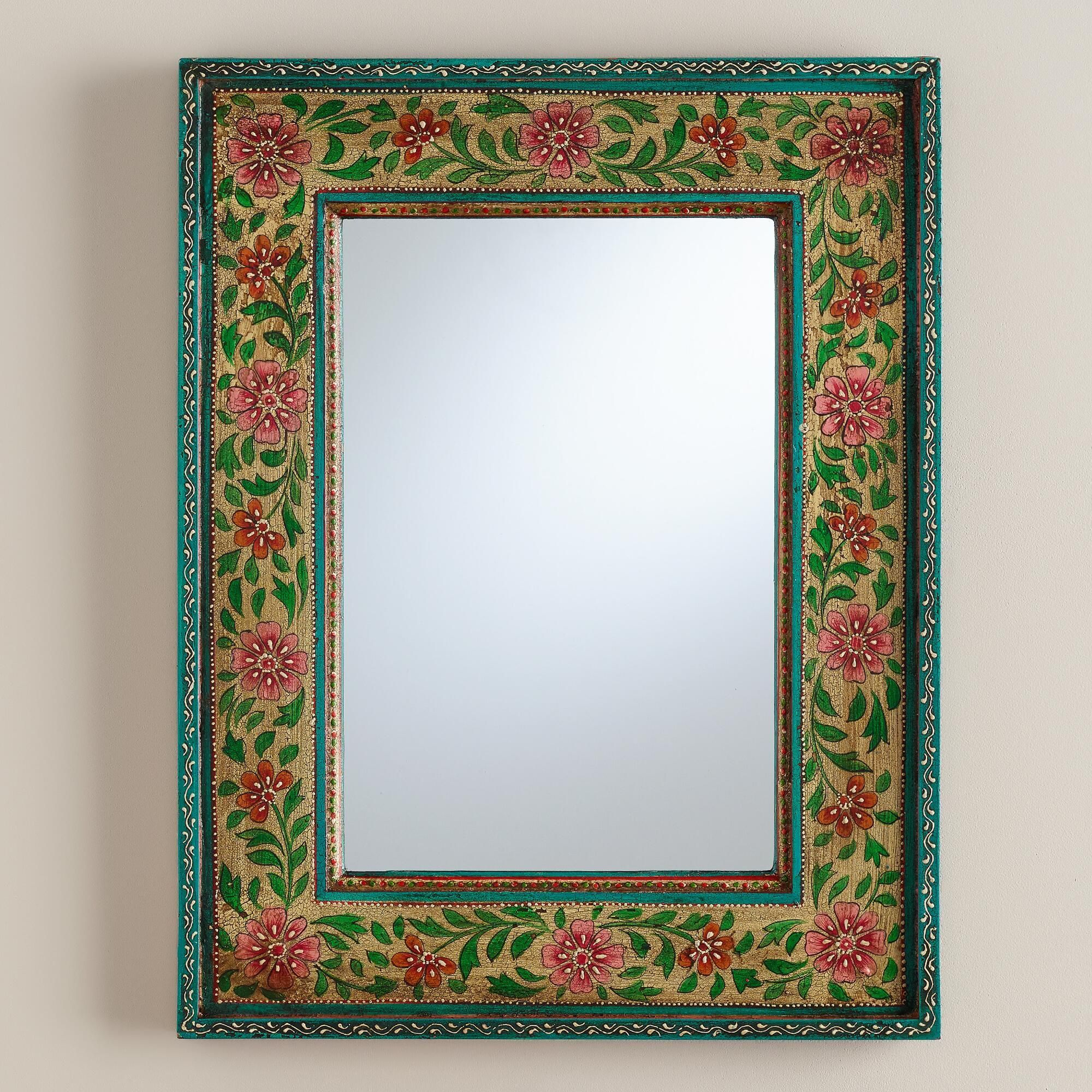 Floral Painted Wood Mirror Hand Painted Mirrors Painting Mirror Frames Mirror Painting