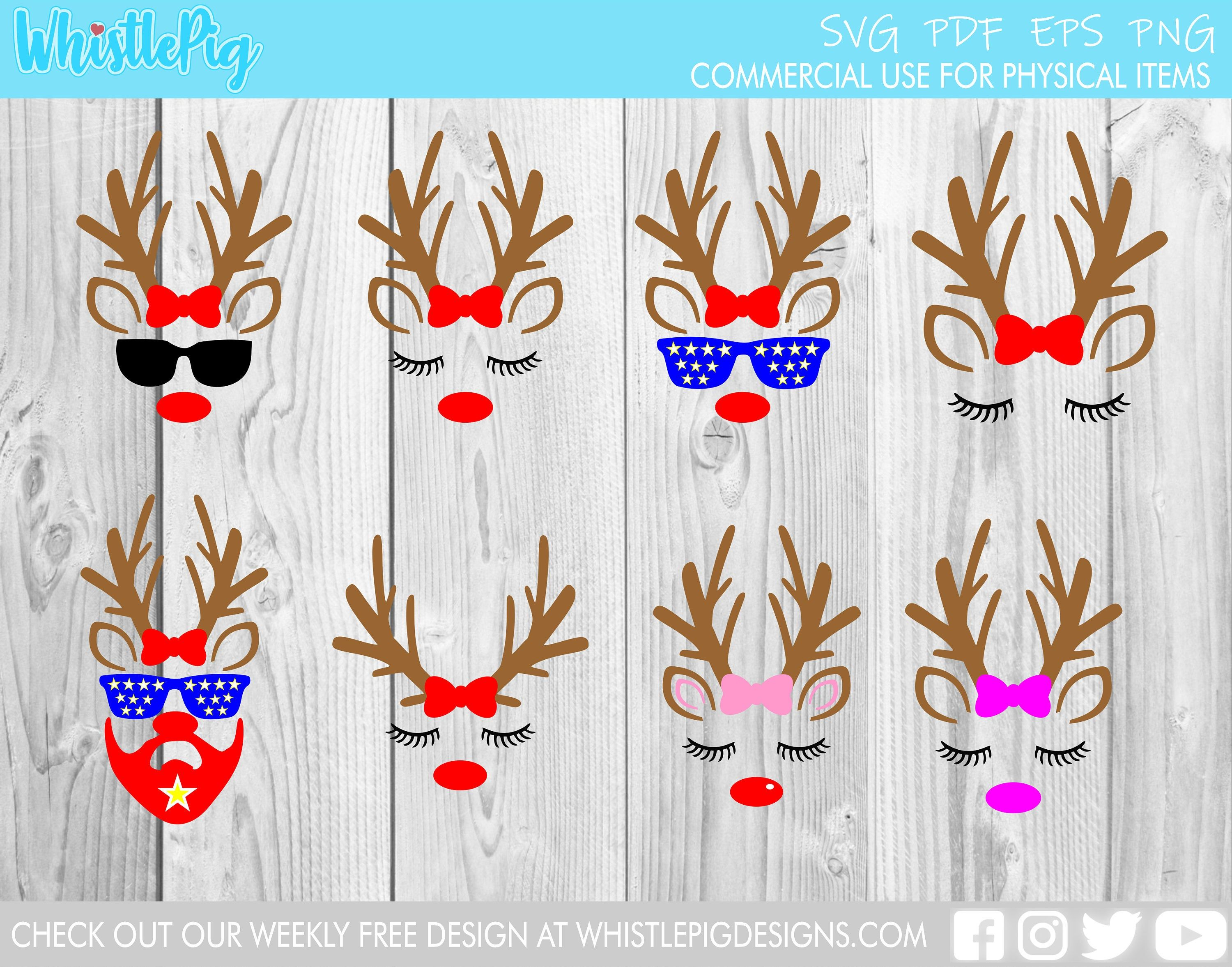 Cute Reindeer Face Bundle svg file Christmas Xmas instant