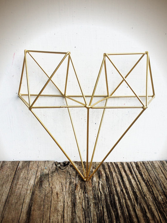 Geometric Metal Wall Art bold 3d geometric metal heart wall art // metallic gold leaf