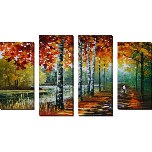 By The Lake By Leonid Afremov 4 Piece Painting Print On Wrapped Canvas Set Wall Canvas Painting Canvas Painting Painting Prints