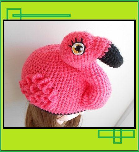 Flo The Flamingo Crochet Beanie, Flamingo Bird Hat, Men, Women ...