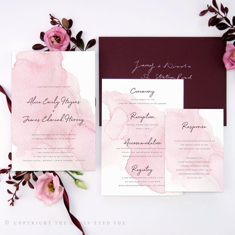 Soft Pink Wedding Invitation Watercolour Blush Stationery Elegant Invite Romantic Summer: Sle Wedding Invitation In Arabic At Websimilar.org