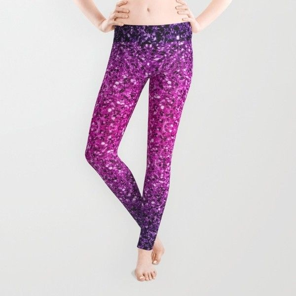 0ead92a2bd173 Purple Pink Ombre glitter sparkles Leggings ( 37) ❤ liked on Polyvore  featuring pants