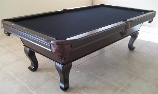 cherry wood slate pool table with black felt - Slate Pool Table