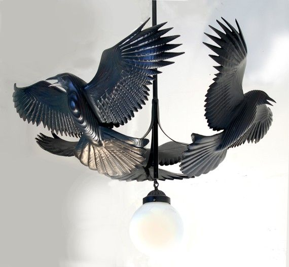 Raven Chandelier wood sculpture by Jason Tennant, Hand carved woodcarving and steel #woodcarvingtoo