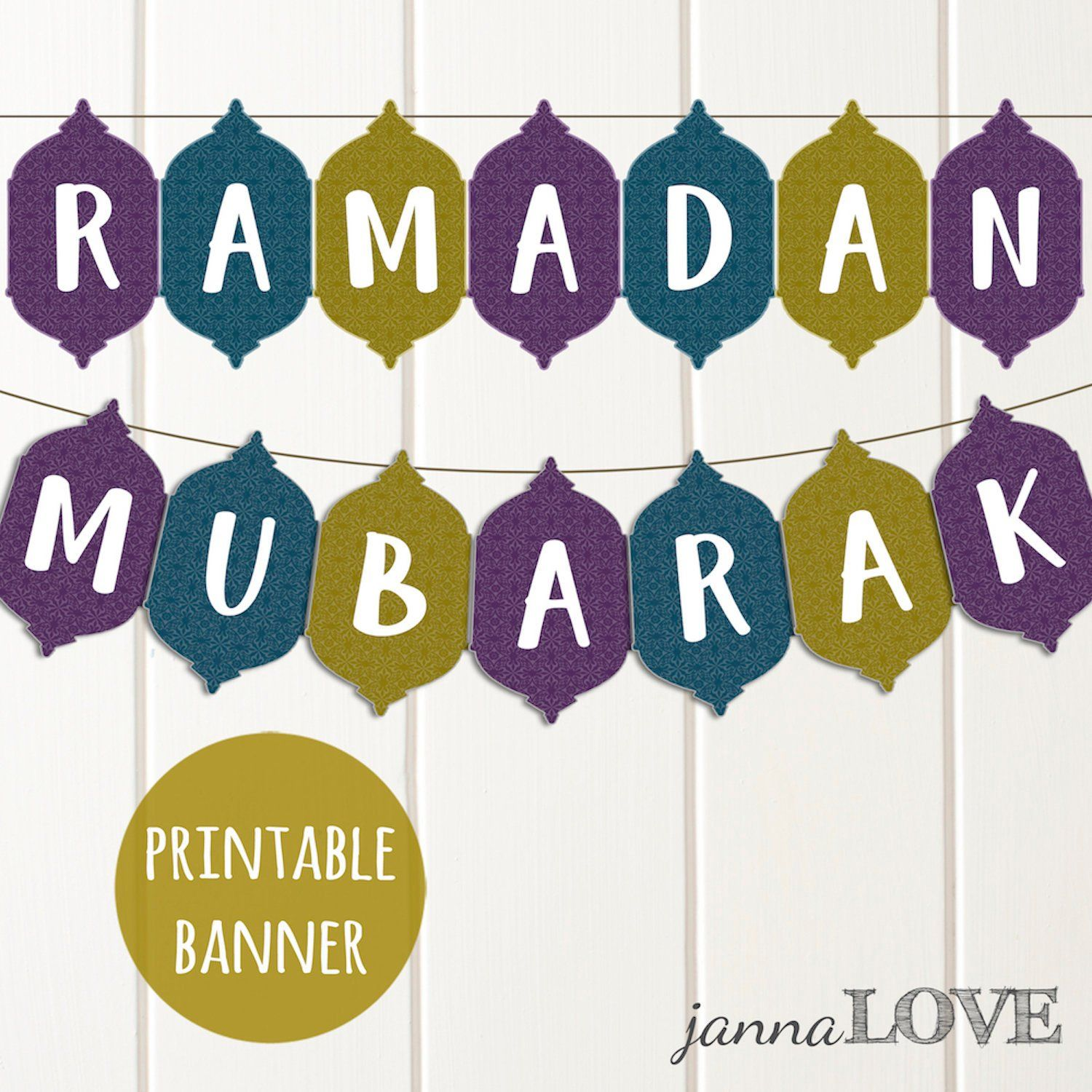 Printable Ramadan Mubarak Banner In Patterned Lantern