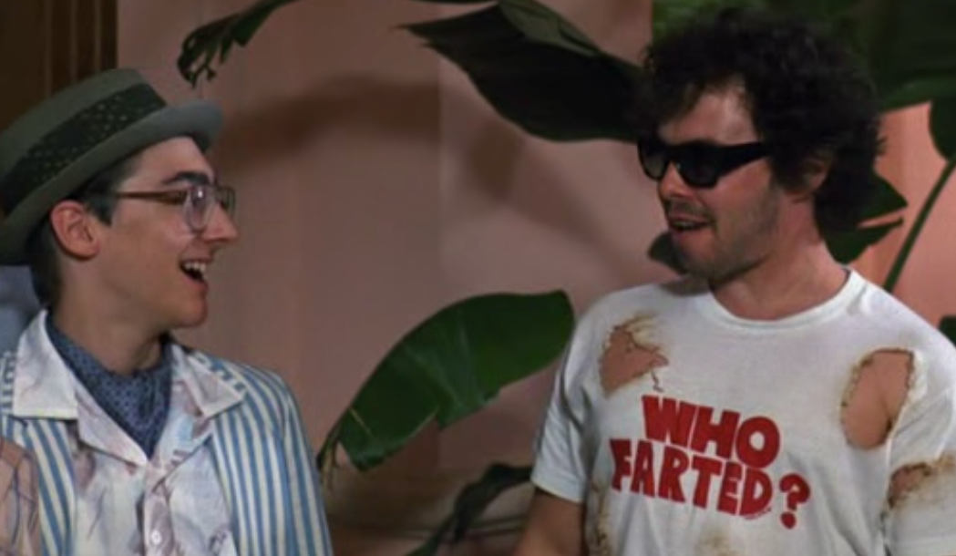 "a10449f15091c Dudley ""Booger"" Dawson (Curtis Armstrong) wears a Who Farted? t ..."
