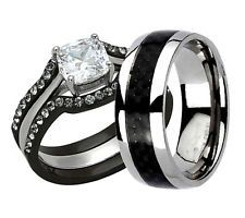 his hers 4 pc black stainless steel titanium wedding engagement ring band set lv - Titanium Wedding Ring Sets